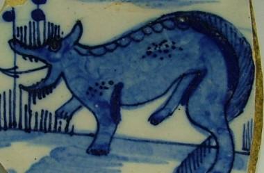 Detail scherf met draak