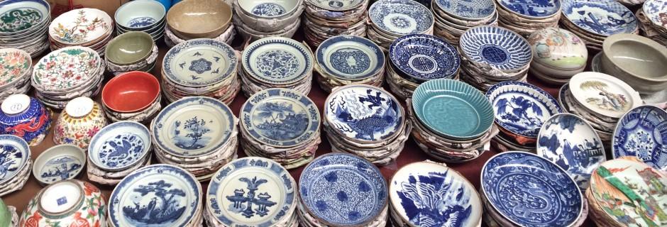 Een selectie borden op de Panjiayuanmarkt
