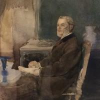 Detail portret A. Jacquemart, schilder onbekend, collectie Musée National Adrien Dubouché, Limoges